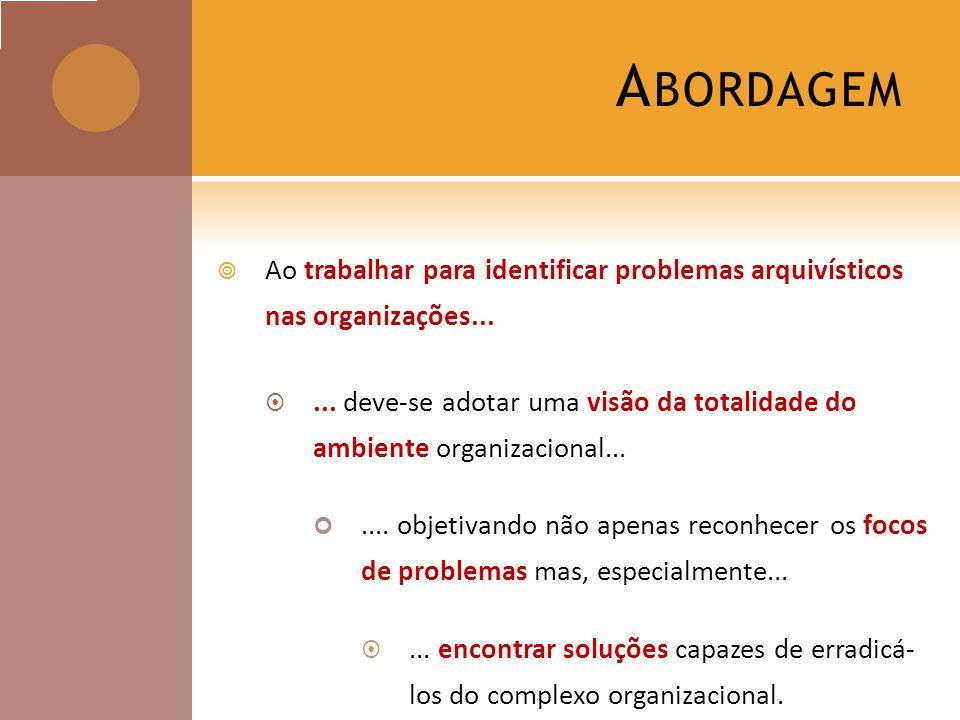 Abordagem Ao trabalhar para identificar problemas arquivísticos nas organizações...