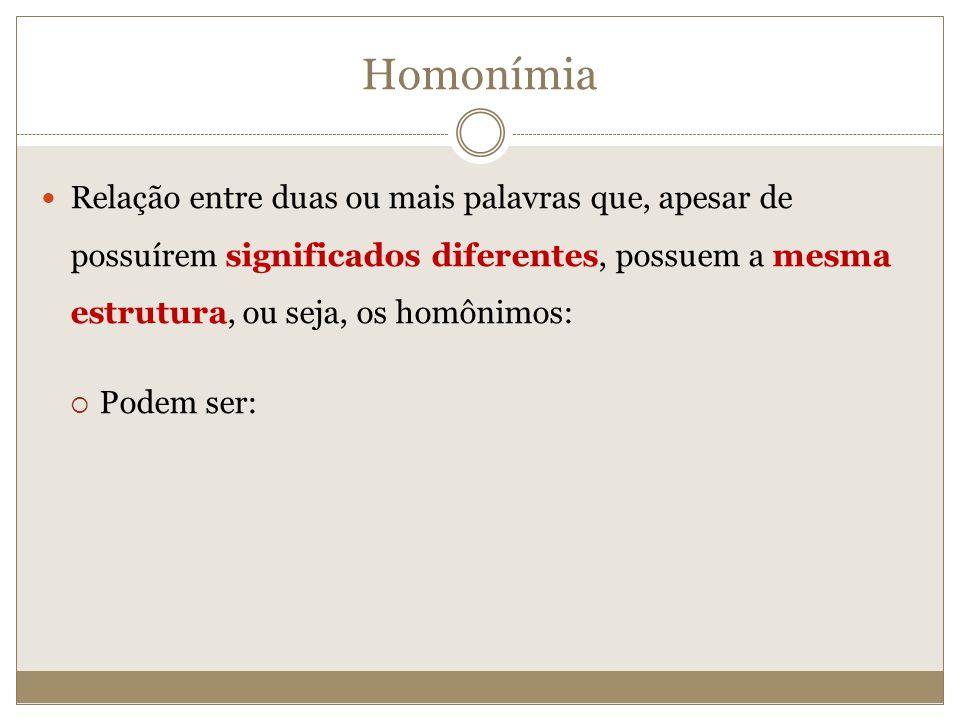 Homonímia Relação entre duas ou mais palavras que, apesar de possuírem significados diferentes, possuem a mesma estrutura, ou seja, os homônimos: