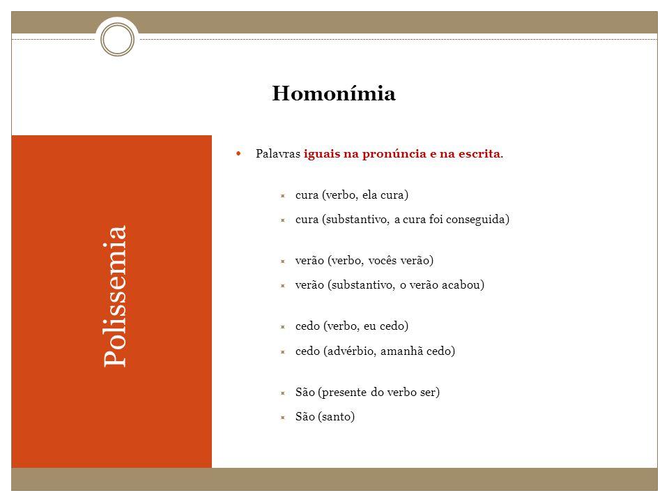 Polissemia Homonímia Palavras iguais na pronúncia e na escrita.