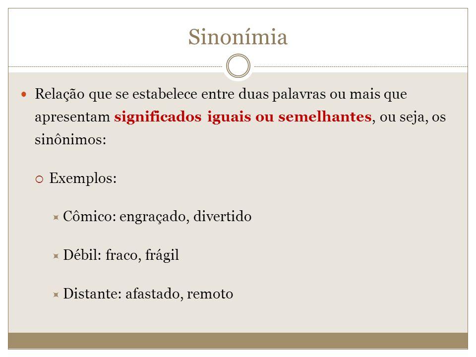 Sinonímia Relação que se estabelece entre duas palavras ou mais que apresentam significados iguais ou semelhantes, ou seja, os sinônimos: