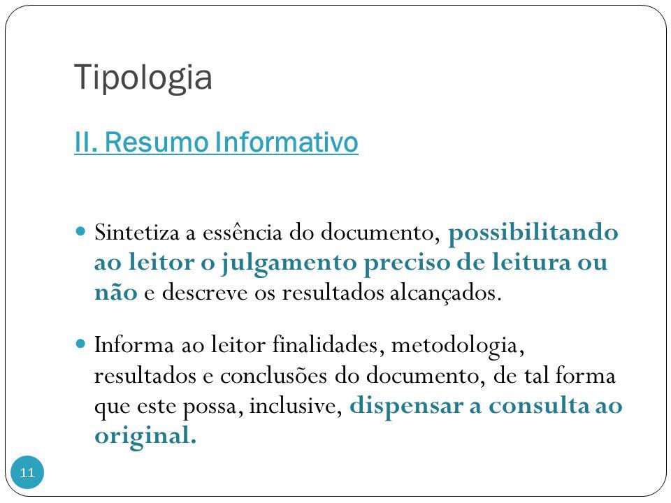 Tipologia II. Resumo Informativo