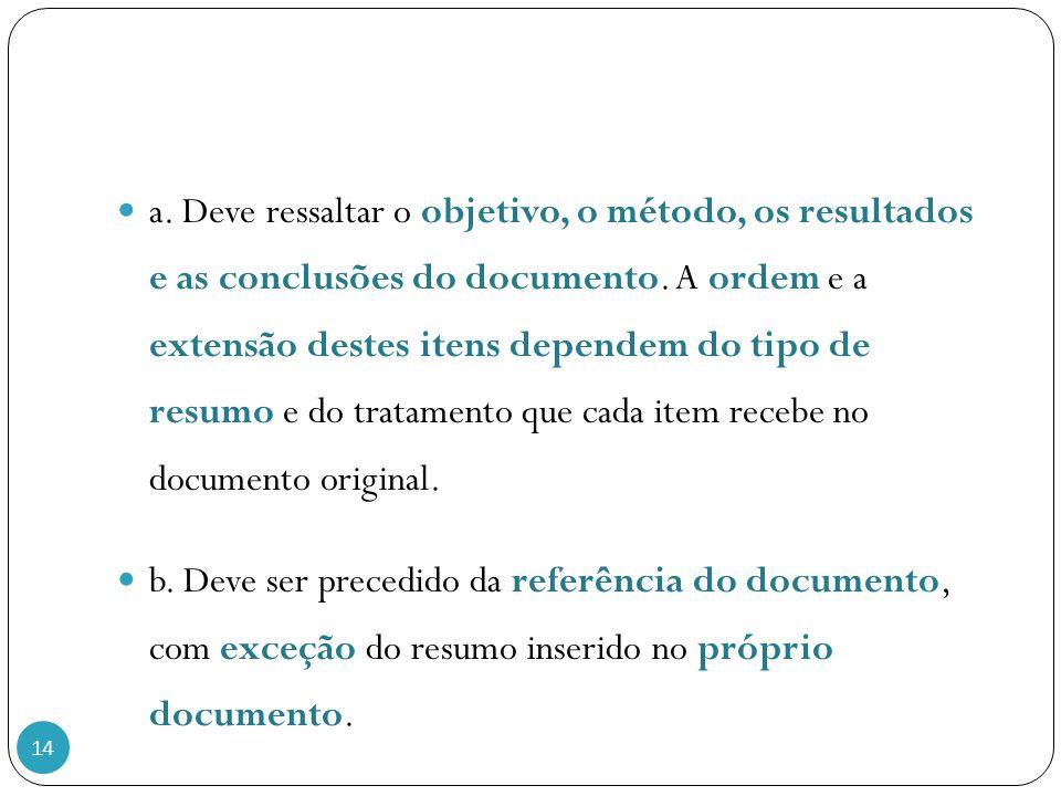 a. Deve ressaltar o objetivo, o método, os resultados e as conclusões do documento. A ordem e a extensão destes itens dependem do tipo de resumo e do tratamento que cada item recebe no documento original.