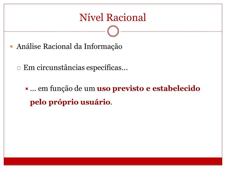Nível Racional Análise Racional da Informação