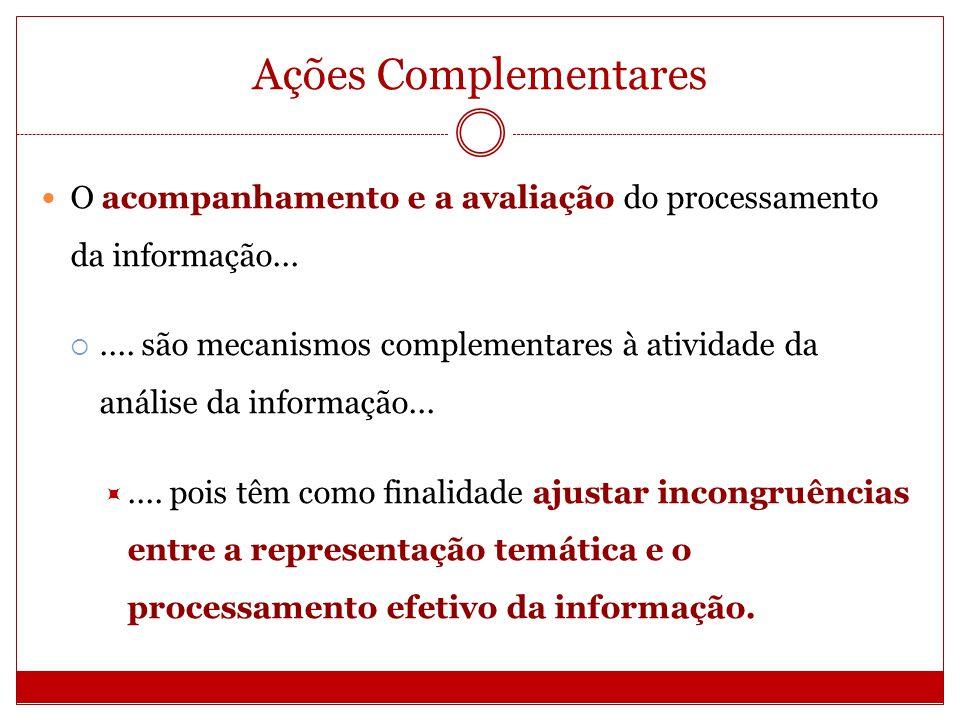 Ações Complementares O acompanhamento e a avaliação do processamento da informação...