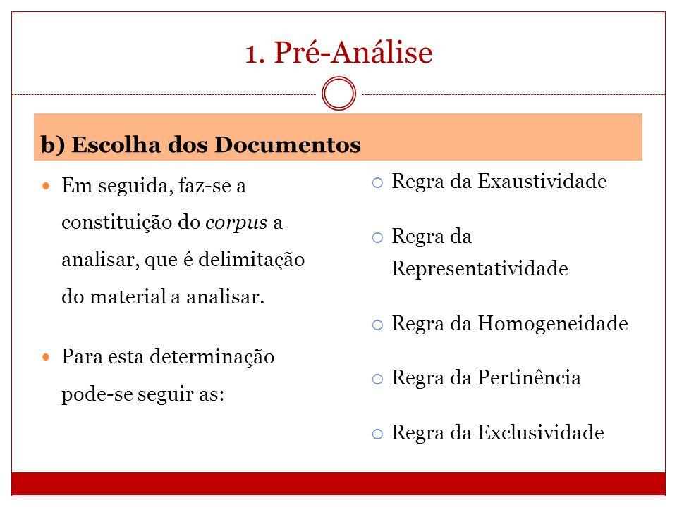 1. Pré-Análise b) Escolha dos Documentos