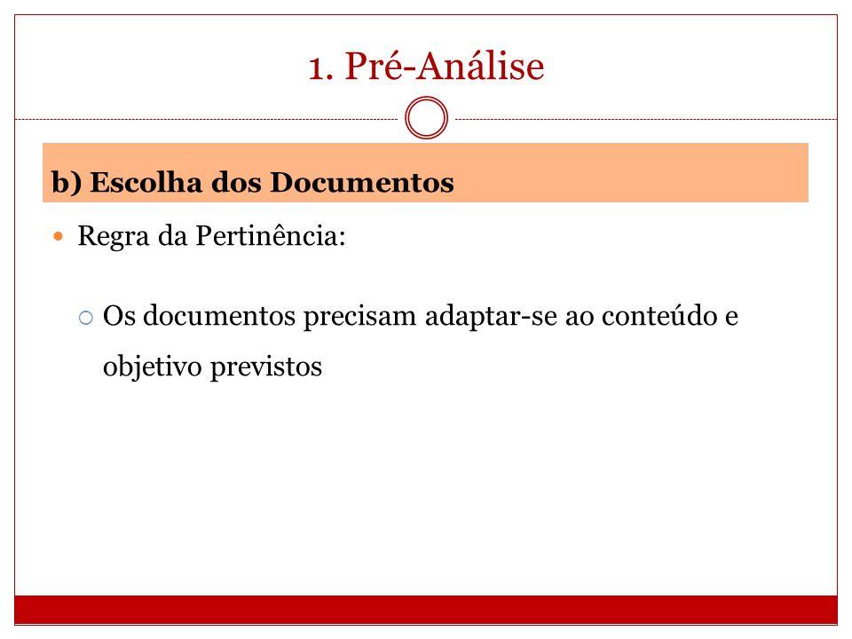 1. Pré-Análise b) Escolha dos Documentos Regra da Pertinência: