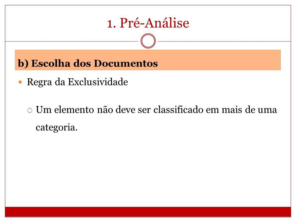 1. Pré-Análise b) Escolha dos Documentos Regra da Exclusividade