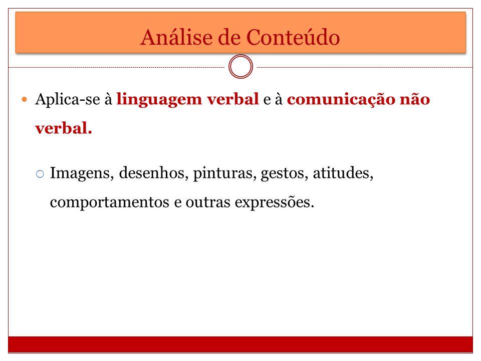 Análise de Conteúdo Aplica-se à linguagem verbal e à comunicação não verbal.