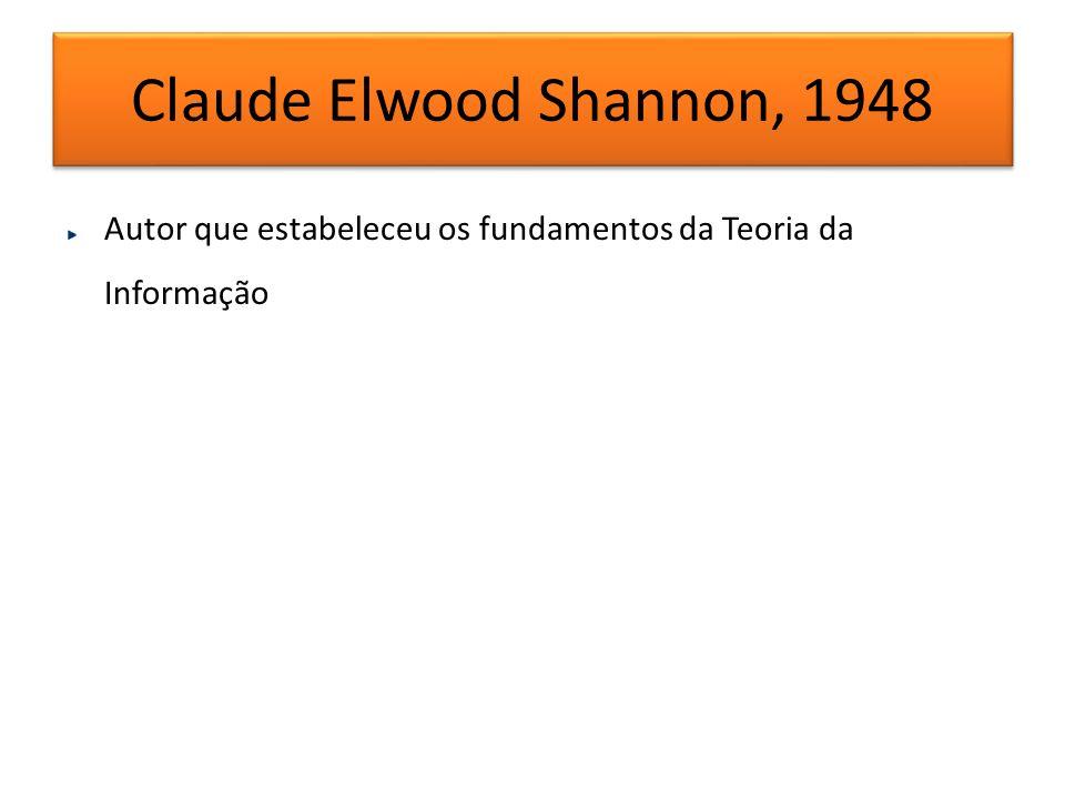 Claude Elwood Shannon, 1948 Autor que estabeleceu os fundamentos da Teoria da Informação