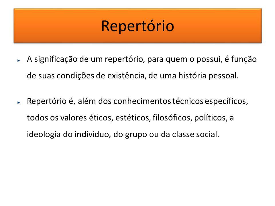 Repertório A significação de um repertório, para quem o possui, é função de suas condições de existência, de uma história pessoal.
