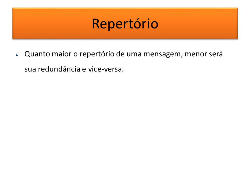 Repertório Quanto maior o repertório de uma mensagem, menor será sua redundância e vice-versa.