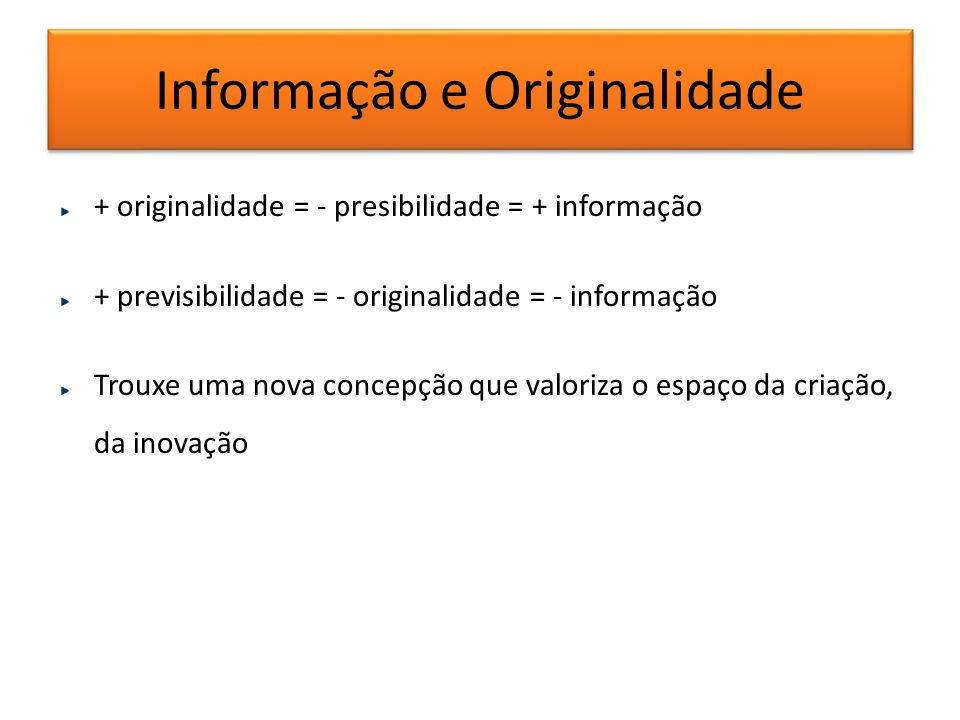 Informação e Originalidade