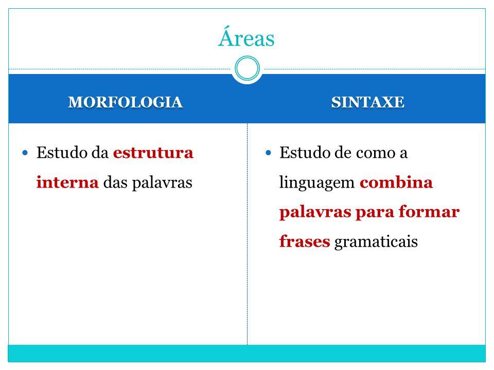 Áreas Estudo da estrutura interna das palavras