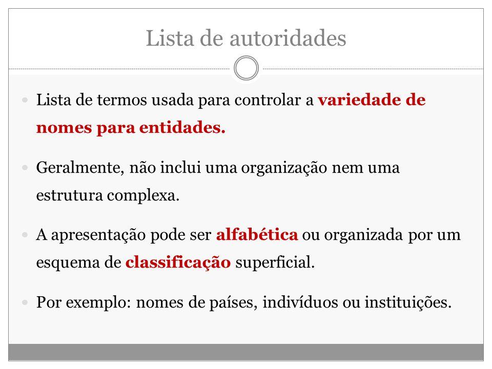 Lista de autoridades Lista de termos usada para controlar a variedade de nomes para entidades.