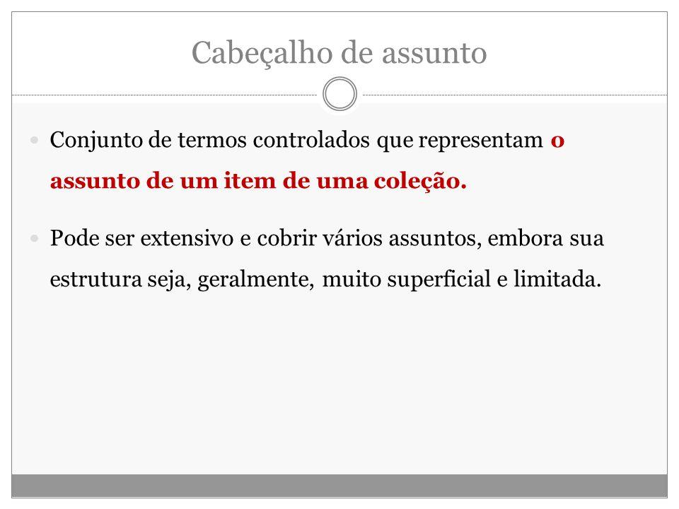Cabeçalho de assunto Conjunto de termos controlados que representam o assunto de um item de uma coleção.