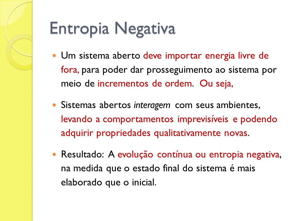 Entropia Negativa