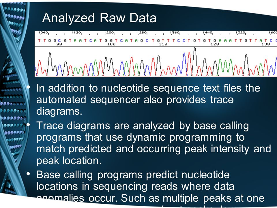 Analyzed Raw Data In addition to nucleotide sequence text files the automated sequencer also provides trace diagrams.