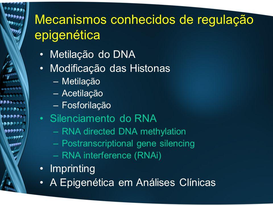 Mecanismos conhecidos de regulação epigenética
