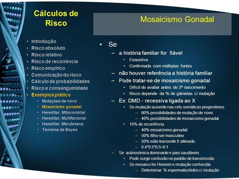 Cálculos de Risco Mosaicismo Gonadal Se a história familiar for fiável