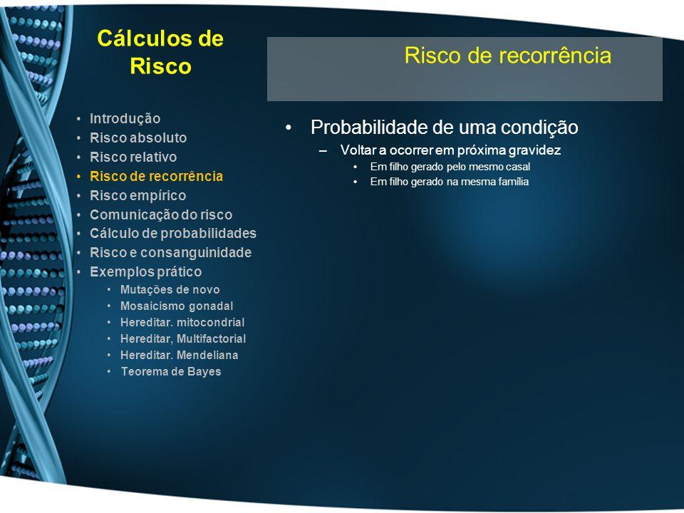 Cálculos de Risco Risco de recorrência Probabilidade de uma condição