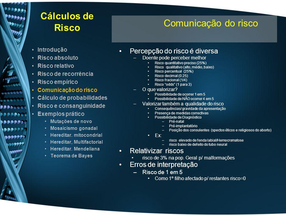 Cálculos de Risco Comunicação do risco Percepção do risco é diversa