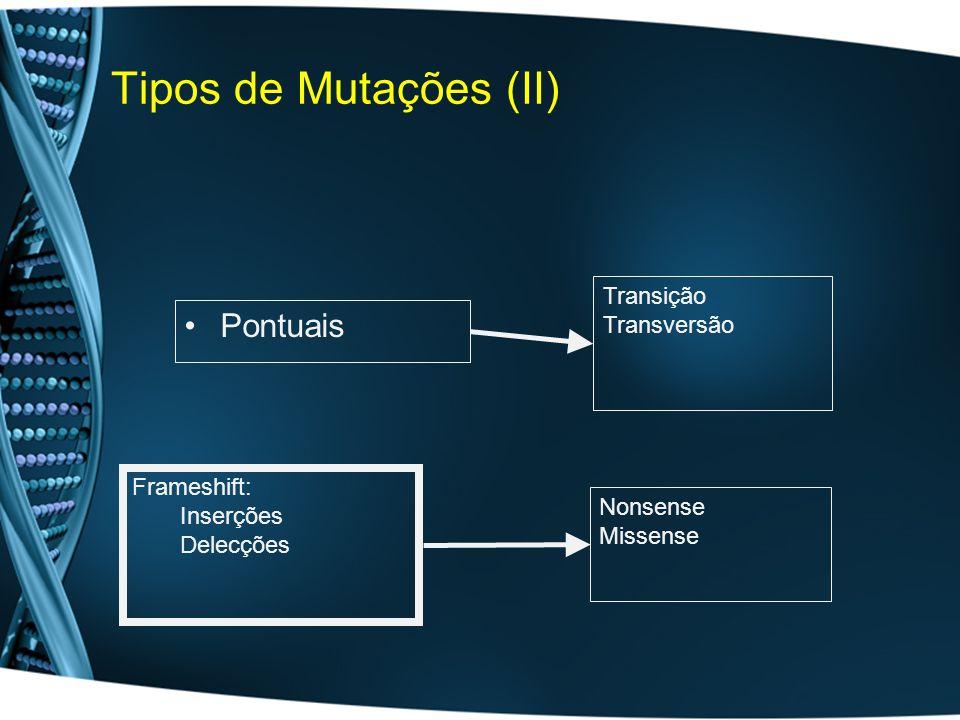 Tipos de Mutações (II) Pontuais Transição Transversão Frameshift: