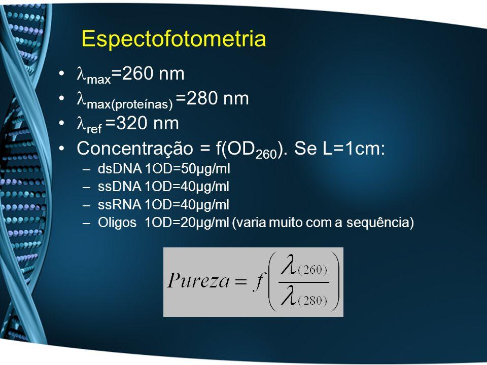 Espectofotometria max=260 nm max(proteínas) =280 nm ref =320 nm