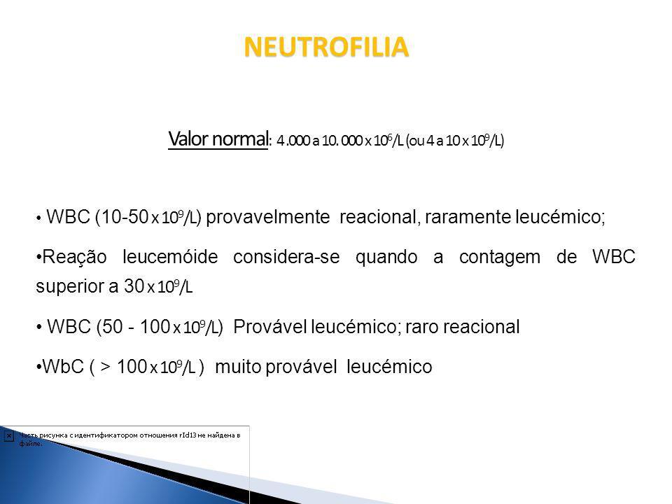 Valor normal: 4 .000 a 10. 000 x 106/L (ou 4 a 10 x 109/L)