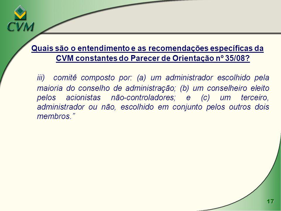 Quais são o entendimento e as recomendações específicas da CVM constantes do Parecer de Orientação nº 35/08