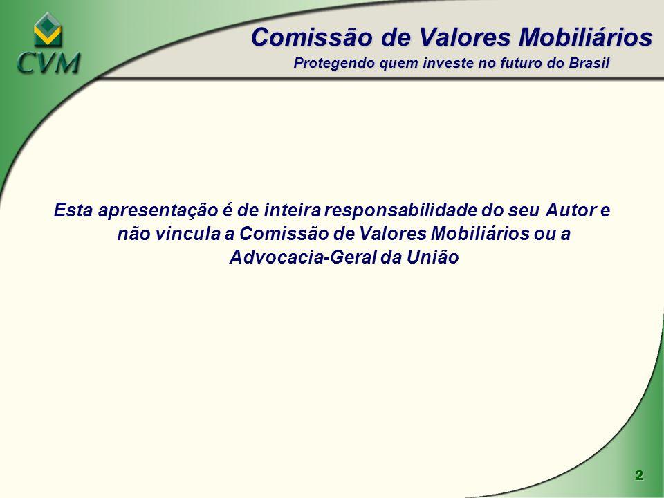 Comissão de Valores Mobiliários Protegendo quem investe no futuro do Brasil