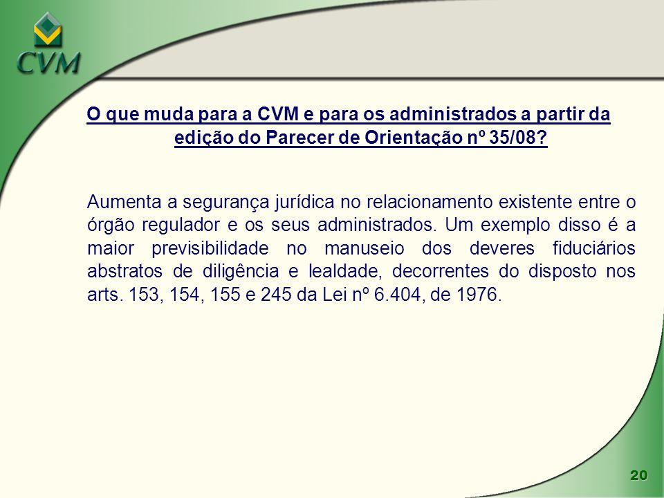 O que muda para a CVM e para os administrados a partir da edição do Parecer de Orientação nº 35/08