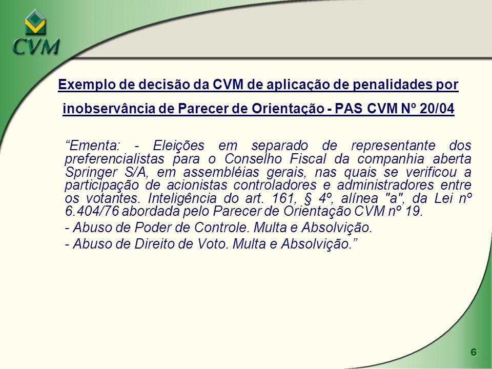 Exemplo de decisão da CVM de aplicação de penalidades por