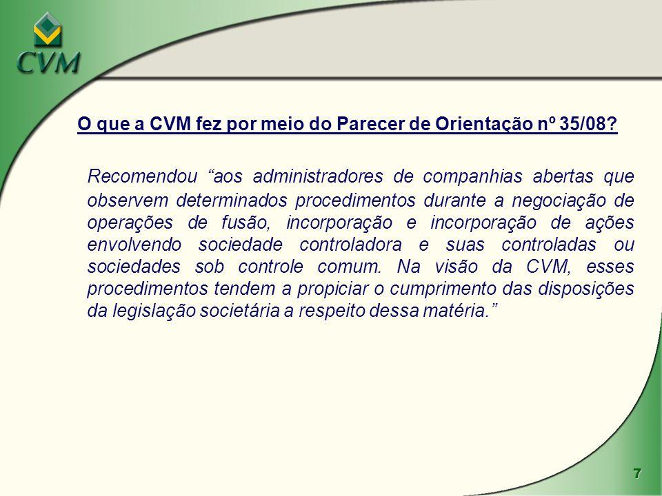 O que a CVM fez por meio do Parecer de Orientação nº 35/08