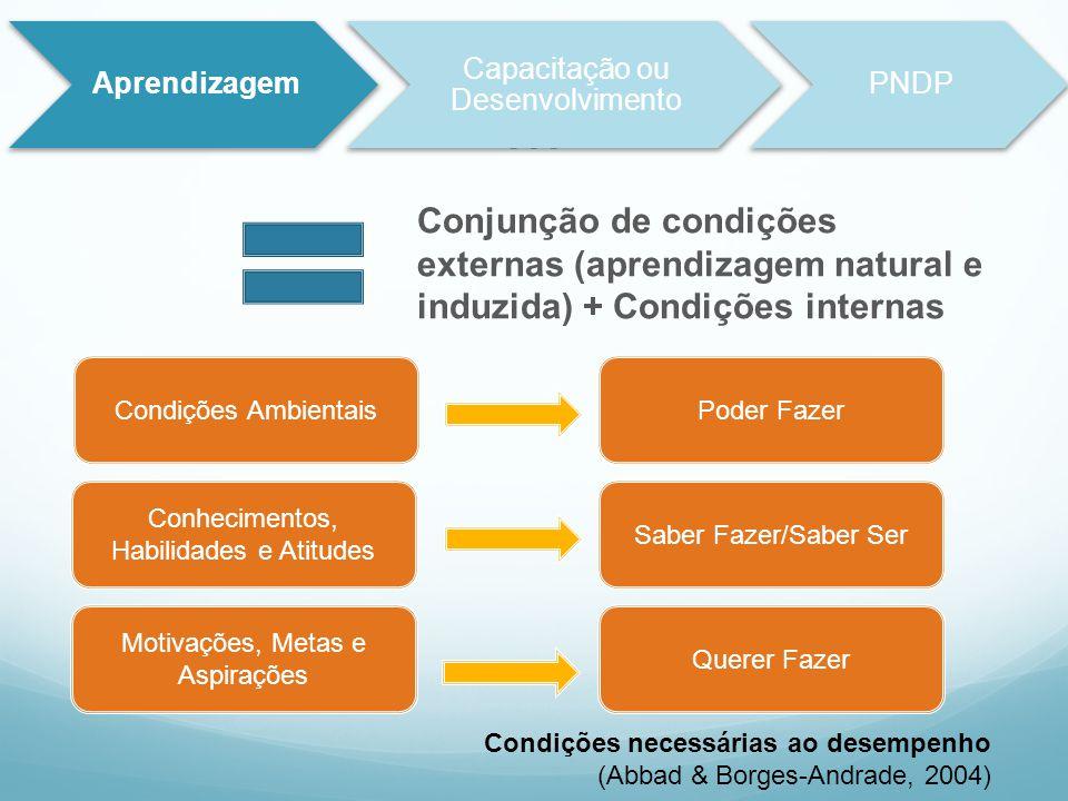 Aprendizagem Capacitação ou Desenvolvimento. PNDP. M. Conjunção de condições externas (aprendizagem natural e induzida) + Condições internas.