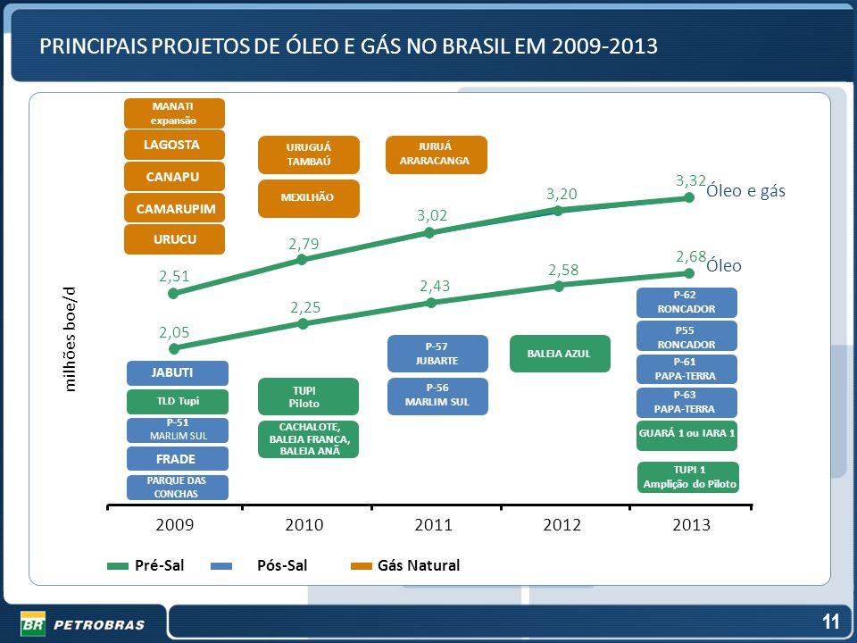 PRINCIPAIS PROJETOS DE ÓLEO E GÁS NO BRASIL EM 2009-2013
