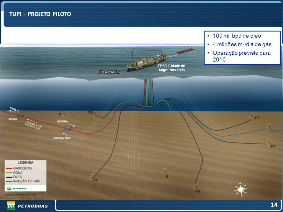 14 TUPI – PROJETO PILOTO 100 mil bpd de óleo 4 milhões m3/dia de gás