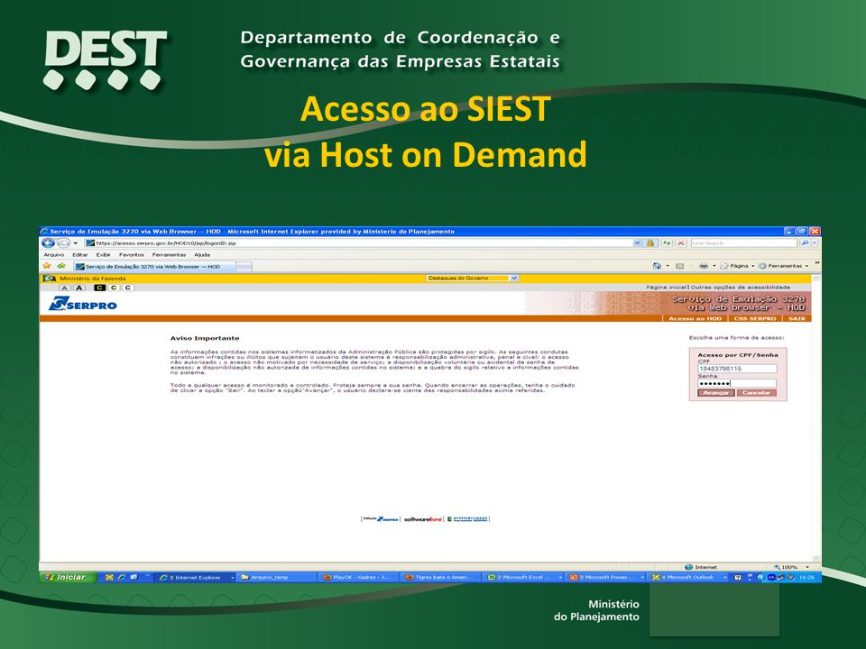 Acesso ao SIEST via Host on Demand