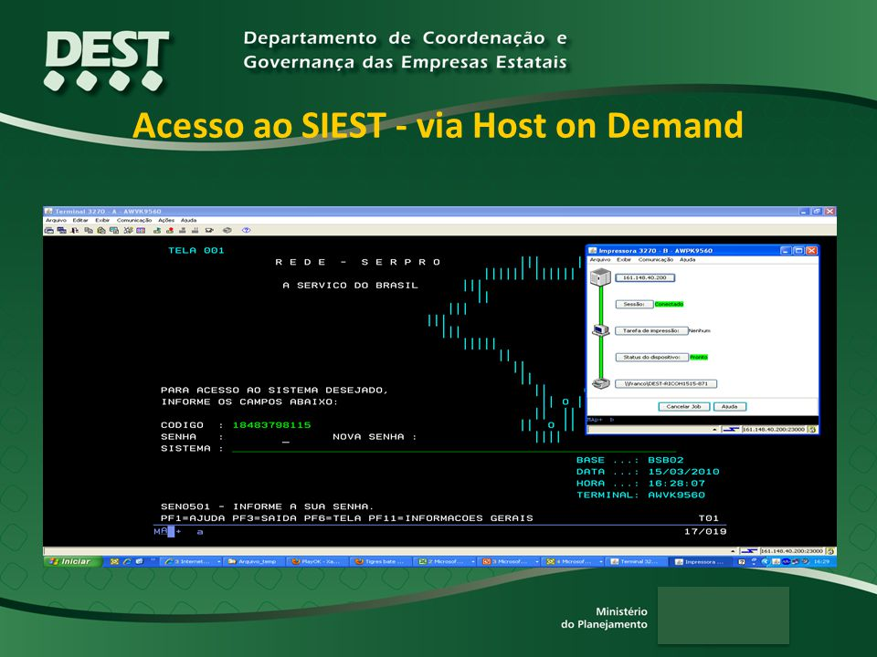 Acesso ao SIEST - via Host on Demand
