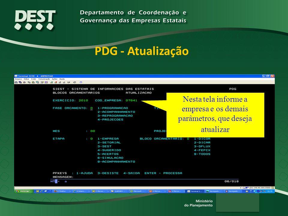 PDG - Atualização Nesta tela informe a empresa e os demais parâmetros, que deseja atualizar. Lembrando que:
