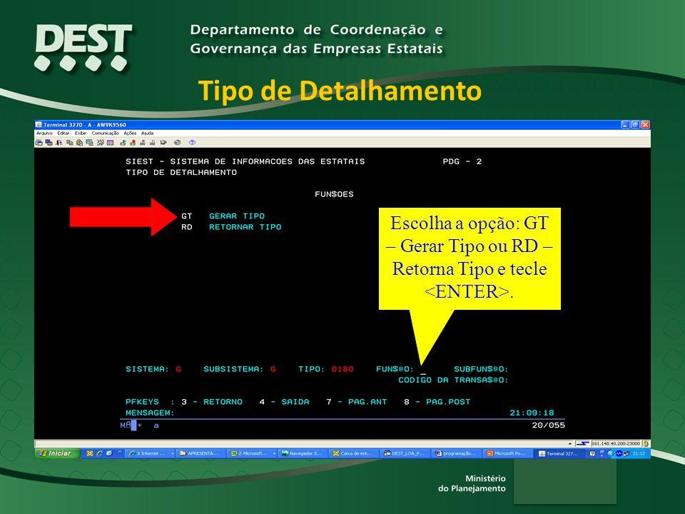 Tipo de Detalhamento Escolha a opção: GT – Gerar Tipo ou RD –Retorna Tipo e tecle <ENTER>. Nesta