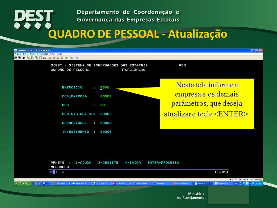 QUADRO DE PESSOAL - Atualização