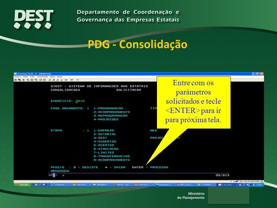 PDG - Consolidação Entre com os parâmetros solicitados e tecle <ENTER> para ir para próxima tela.