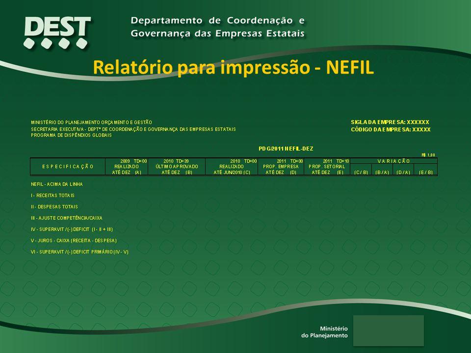 Relatório para impressão - NEFIL