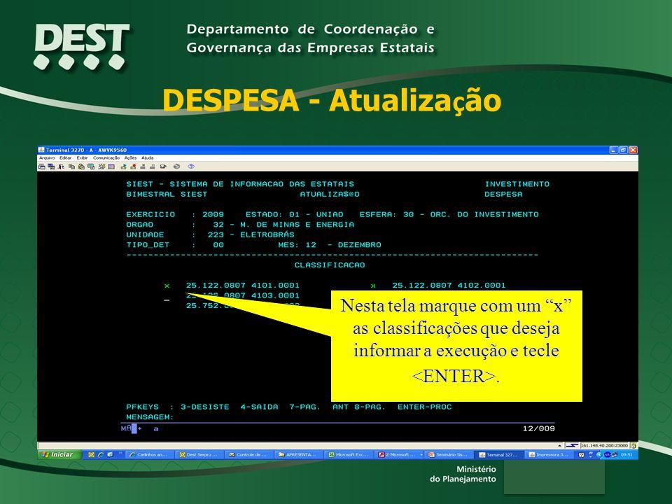 DESPESA - Atualização Nesta tela marque com um x as classificações que deseja informar a execução e tecle <ENTER>.