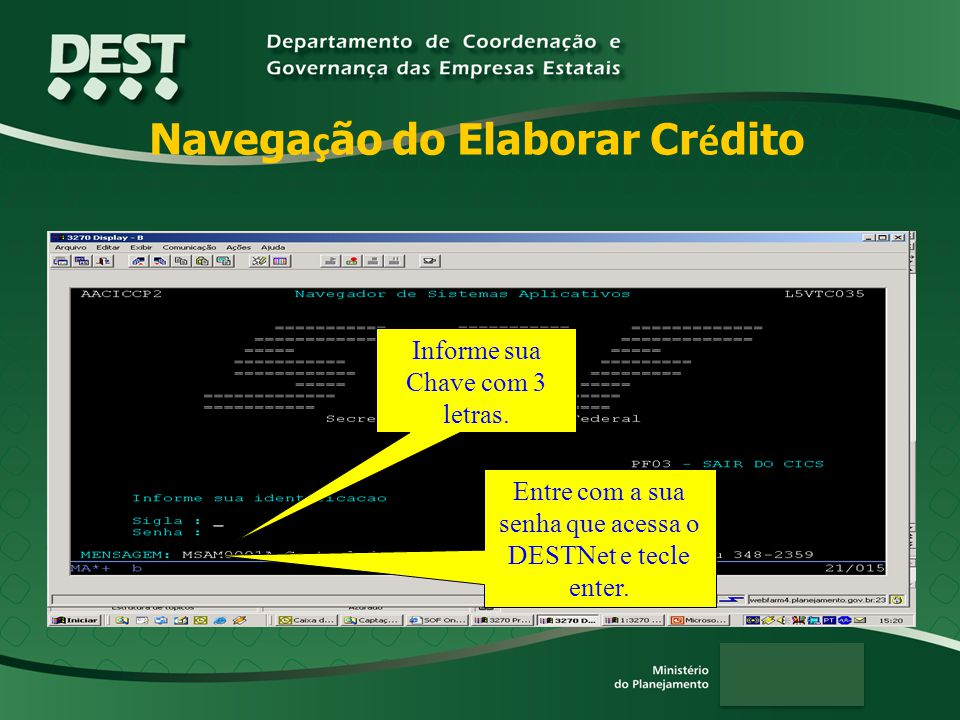 Navegação do Elaborar Crédito