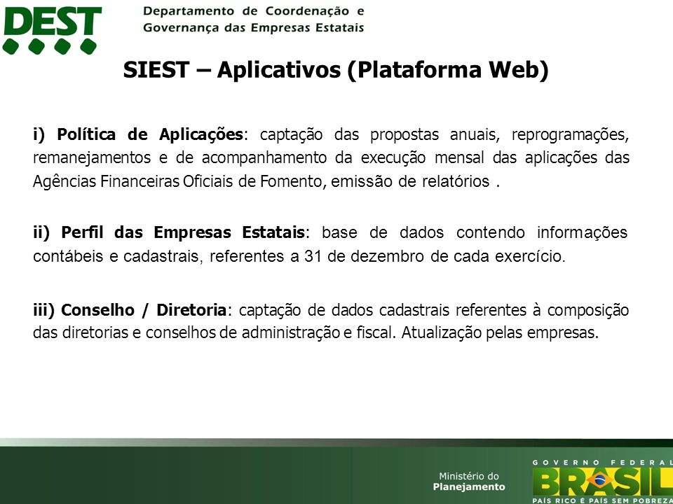 SIEST – Aplicativos (Plataforma Web)