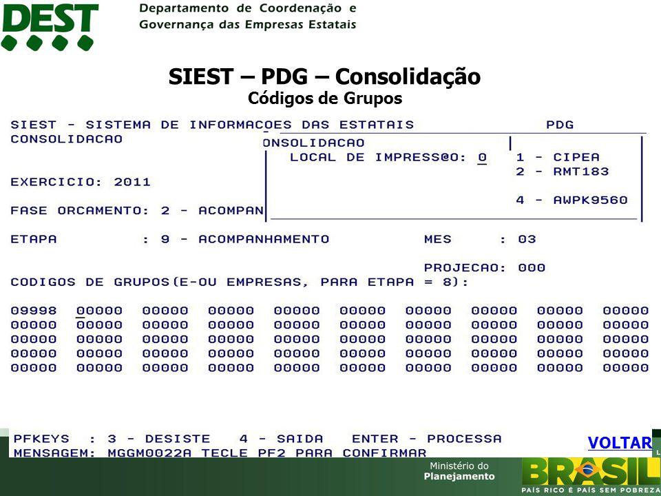 SIEST – PDG – Consolidação Códigos de Grupos