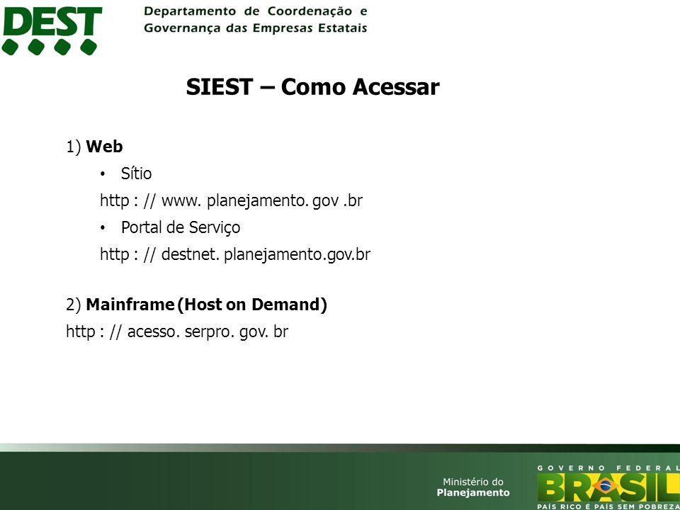 SIEST – Como Acessar 1) Web Sítio http : // www. planejamento. gov .br