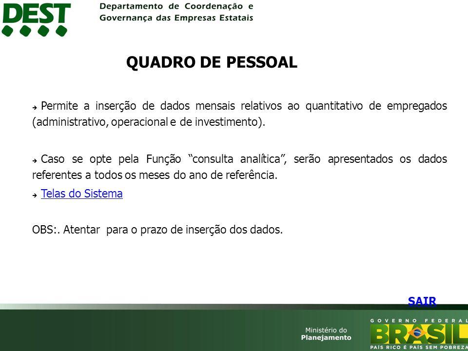 QUADRO DE PESSOAL Permite a inserção de dados mensais relativos ao quantitativo de empregados (administrativo, operacional e de investimento).
