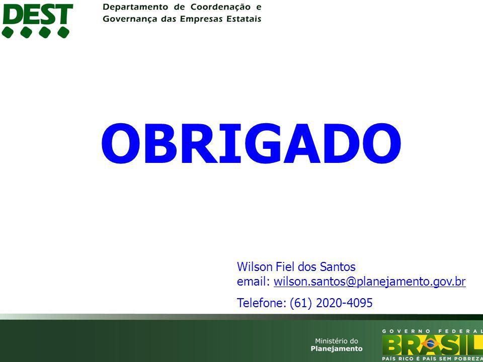 OBRIGADO Wilson Fiel dos Santos email: wilson.santos@planejamento.gov.br Telefone: (61) 2020-4095